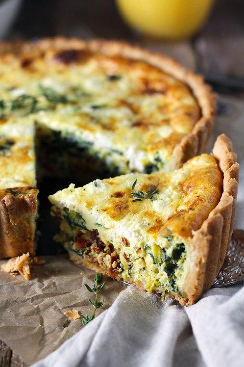 Wild Mushroom, Spinach + Thyme Goat Cheese Quiche