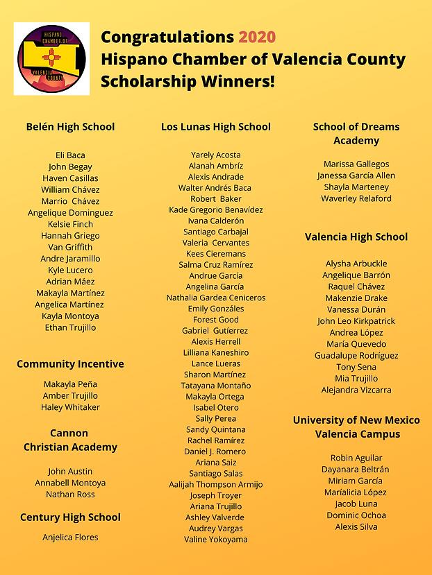 2020 HCVC Scholarship Winners Image for