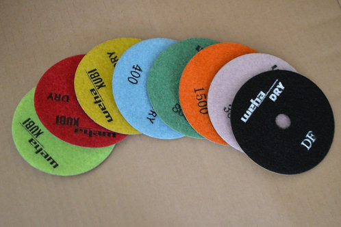 "WEHA 4"" Dry Polishing Pads Velcro Backed"