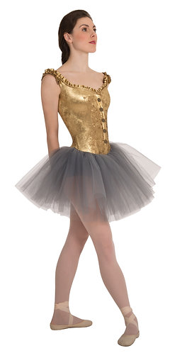 Child Tutu W/Off Shoulder Metallic Panné Velvet Corset