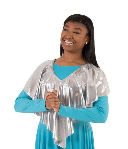Drapey Shiny Metallic V-Shawl Pullover