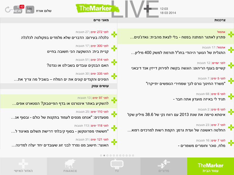 TheMarker for iPad, Section Page