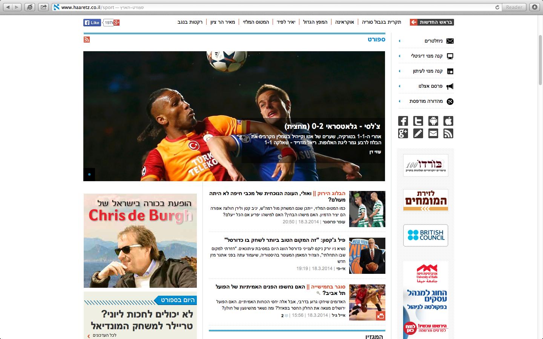 haaretz.co.il, Sport Front Page