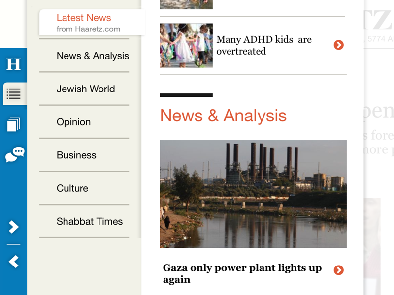 Haaretz for iPad, Navigation Roller