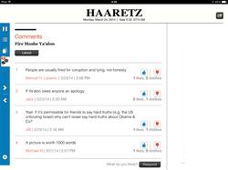Haaretz for iPad, Comments Screen