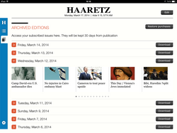Haaretz for iPad, Archived Editions
