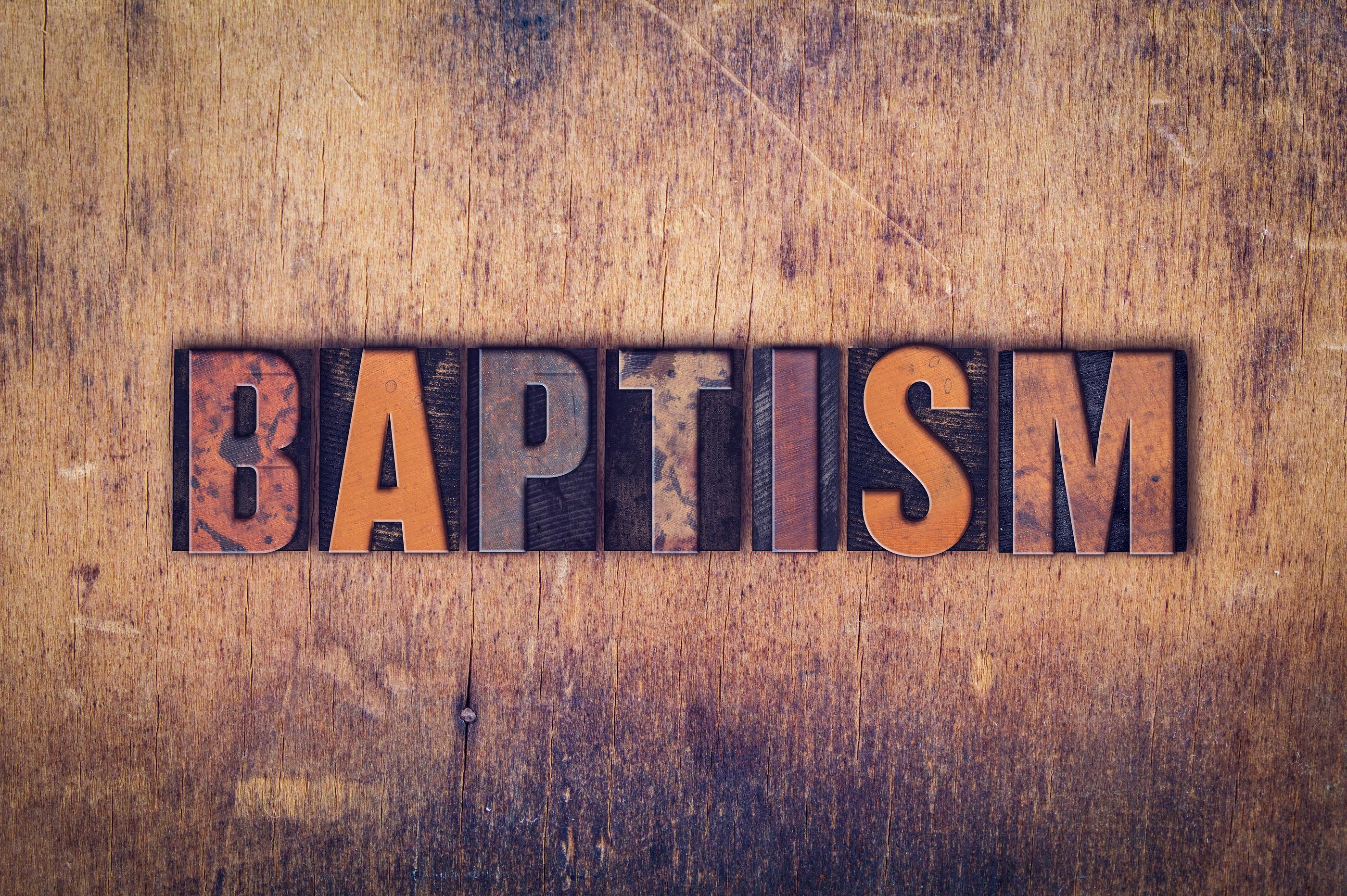 Baptism Concept Wooden Letterpress Type.