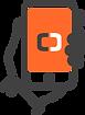 Ícone de uma pessoa segurando um celular representando um usuário indicando o sistema odontológico da Clinicorp para vários amigos