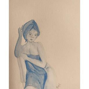 """YOLANDA MONSERRAT IBARRA MARTÍNEZ  """"Auto retrato: La mujer azul.""""  Acuarela sobre papel fabriano. Hija adoptiva de Acámbaro, nacida en la ciudad de Celaya. Actualmente soy estudiante de la carrera de arquitectura en la Universidad de Guanajuato, comencé a dibujar y pintar desde los 10 años de edad. Gracias a el arte he podido encontrar cobijo en el mundo, conocerme a mí misma y transmitir mis emociones.  En esta obra me he representado a mí misma de un color azul, porque así es como me sentía, tranquila y segura. Dibujarme, me ha ayudado a aceptarme tal y como soy, además. he podido reconocerme a través del dibujo. El camino de la búsqueda de una misma, la deconstrucción y el amor propio ha sido largo, pero lo ha valido todo. Hoy, todavía me siento azul."""