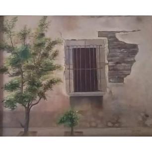 """MARÍA DE LA CONCEPCIÓN CRUZ ÁLVAREZ """"Ventana Cerrada"""" Óleo sobre lienzo. Las casas antiguas me gustan por toda la historia de vidas que guardan.  Para mí, pintar es un momento de estar tranquila, disfrutando de los colores, el olor de la pintura, la convivencia y las enseñanzas de la maestra Güera."""