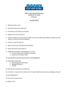 2020 AGM Agenda