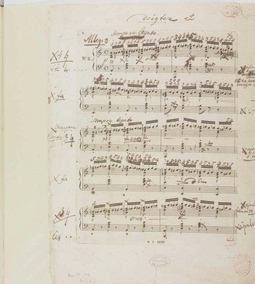 Bibliothèque de l'Opéra, Paris. FFE: proof (F0) p. [1] No. 2, bs 1–10