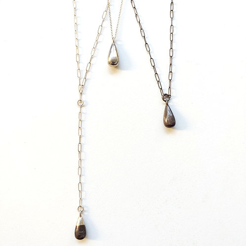 Droplet necklace solid sterling teardrop