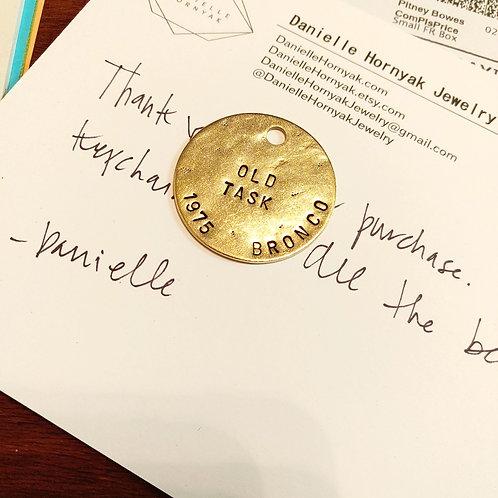 1.5 Inch Distressed Custom Stamped Brass Keychain