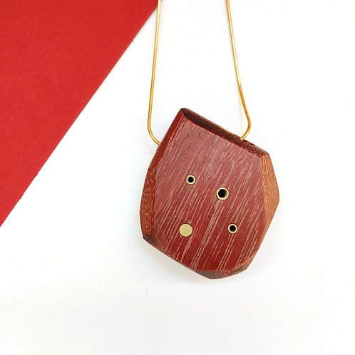 Geometric Wood and Metal, Chunky Necklace