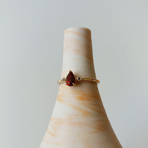Garnet Pear Ring
