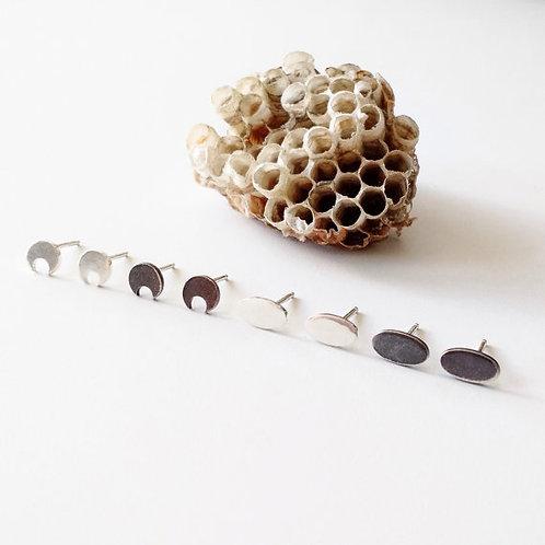 Moon Phase Sterling Silver Stud Earrings