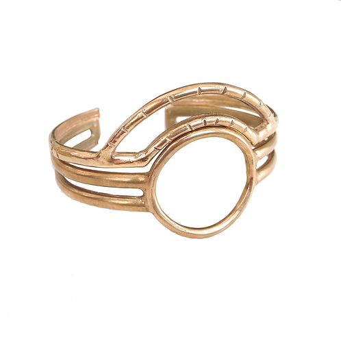 The Ra & Atum brass circle cuff bracelets