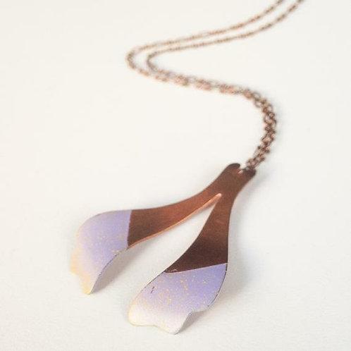 Copper wishbone necklace, color series