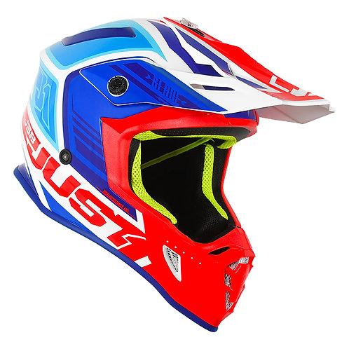Just1 J38 MX Capacete lâmina azul / vermelho / Gloss Branco