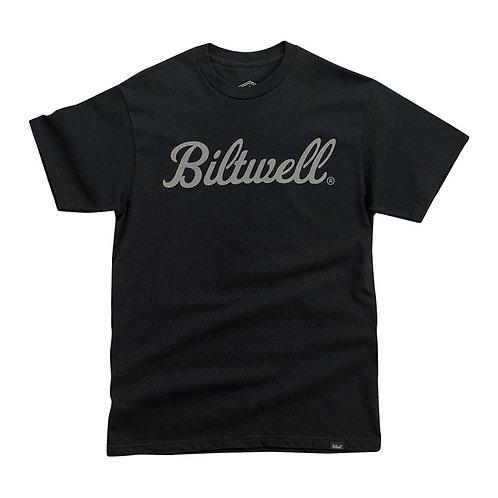 BILTWELL SCRIPT GREY T-SHIRT BLACK