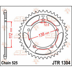 CREMALHEIRA JTR1304.42 DENTES 525  CBF600, VT750 SHADOW