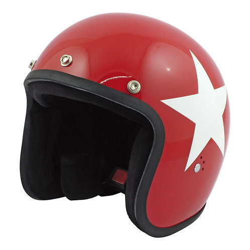CAPACETE BANDIT STAR JET HELMET, RED W/WHITE STAR