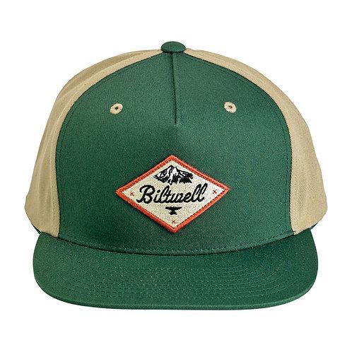 BILTWELL ROCKY MOUNTAIN SNAPBACK CAP GREEN/BEIGE