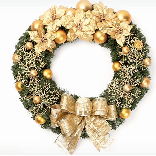 Gold Christmas Wreath.60cm Large Prestigious Gold Christmas Wreath Decoration