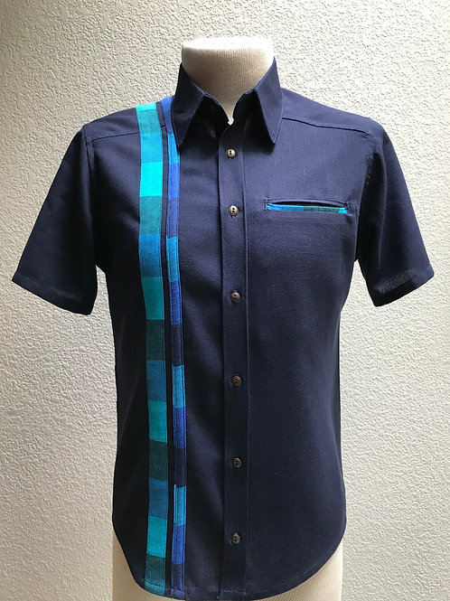 """Custom"" Handmade Full Button Short Sleeve Shirt with Welt Pocket"