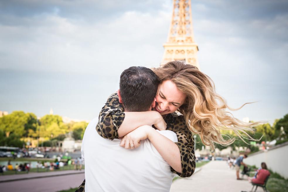 Surprise proposal at Trocadero