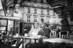 reflection on a cafe terrace