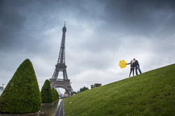 couple in paris with Eiffel tower