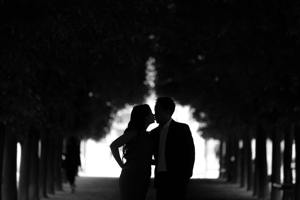 Silhouette under tree Palais Royal g