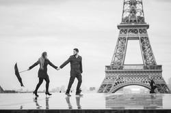 walking under the rain in paris