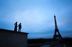 silhouette looking at eiffel tower