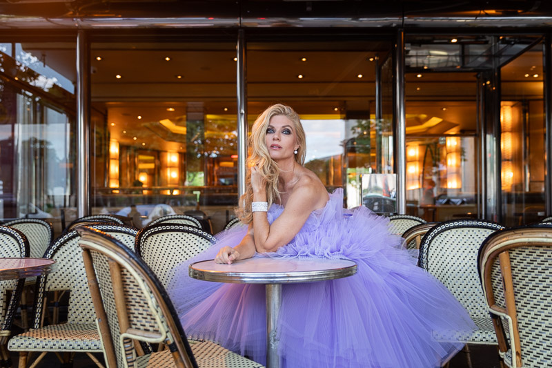 Beautiful model at cafe terrasse Paris