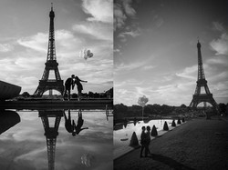 silhouette couple with baloons paris