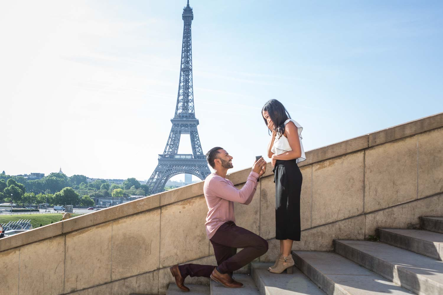 surprise proposal in the stairs