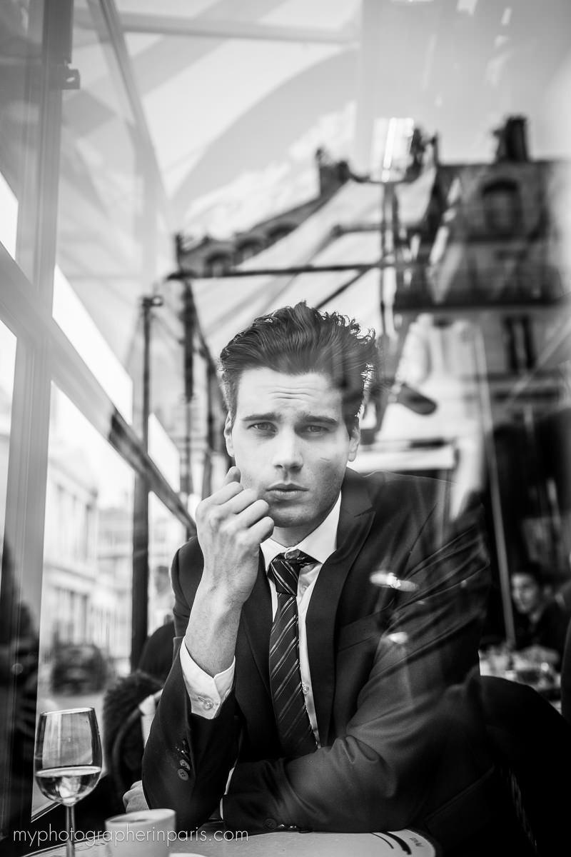 Aurélien Giorgino, Mister France 2015 model in a café