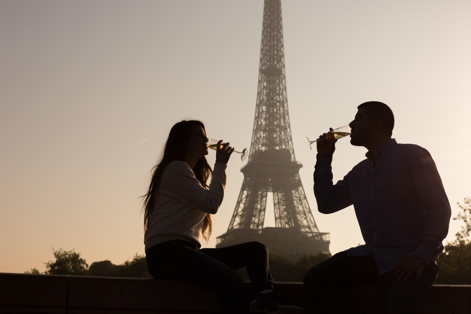 champagne and eiffel tower