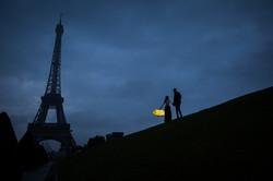 night silhouette Eiffel tower