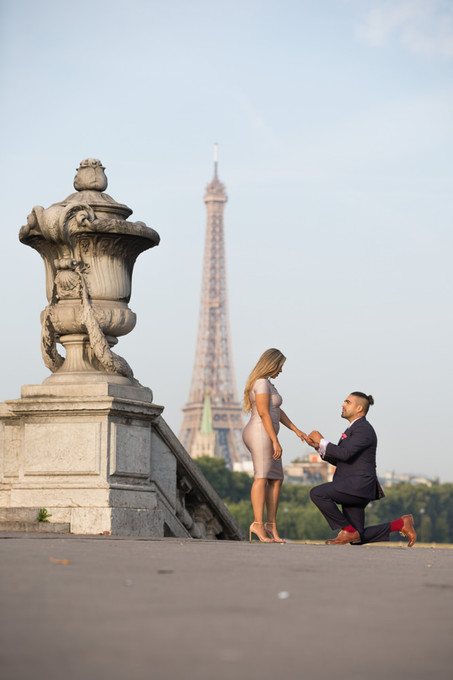 Surprise proposal at Alexander III bridge