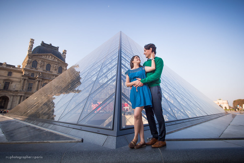 Together in front of the Louvre Pyramid