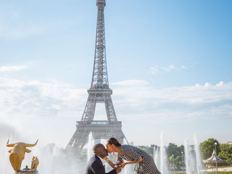 Beautiful surprise proposal at                     the Eiffel Tower