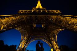 silhouette couple under Eiffel tower