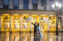 couple under the rain in paris