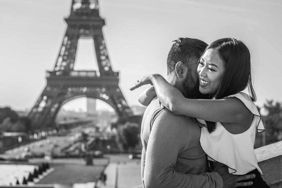 Surprise proposal at Trocadero'