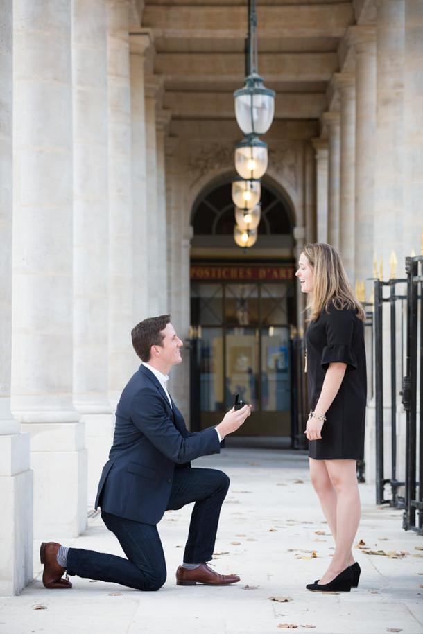 Surprise proposal at Palais Royal Garden