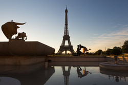 couple silhouette at the Trocadero